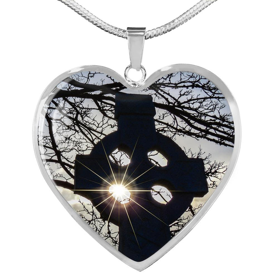 Heart Necklace Pendant - Celtic Cross at Kildysart, County Clare Jewelry ShineOn Fulfillment Luxury Necklace (Silver) No