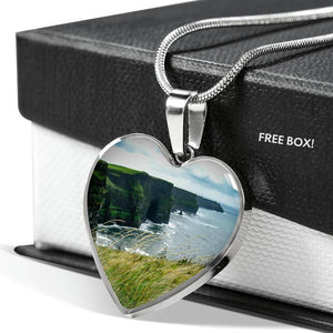 Heart Necklace Pendant - Cliffs of Moher on Ireland's Wild Atlantic Way Jewelry ShineOn Fulfillment