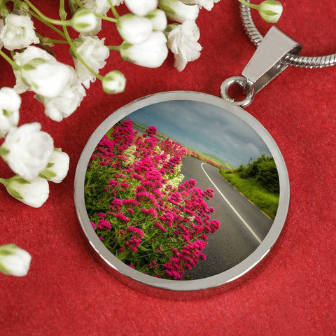 Image of Circle Necklace Pendant - Valerian Wildflowers near Ballyvaughan, County Clare - James A. Truett - Moods of Ireland - Irish Art