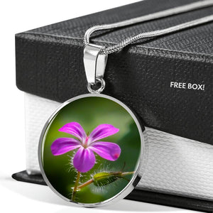 Pendant - Irish Herb Robert Wildflower Jewelry ShineOn Fulfillment
