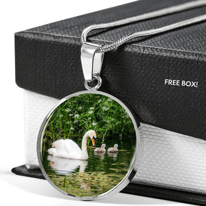 Pendant - Irish Swan and Cygnets at Doneraile Park, County Cork Jewelry ShineOn Fulfillment