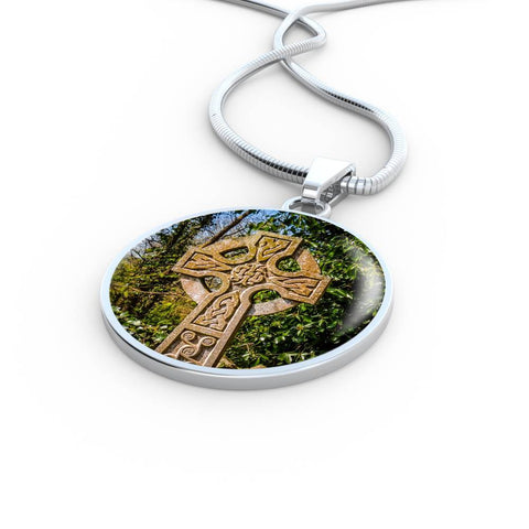 Circle Necklace Pendant - Celtic Cross at Dysert O'Dea, County Clare - James A. Truett - Moods of Ireland - Irish Art