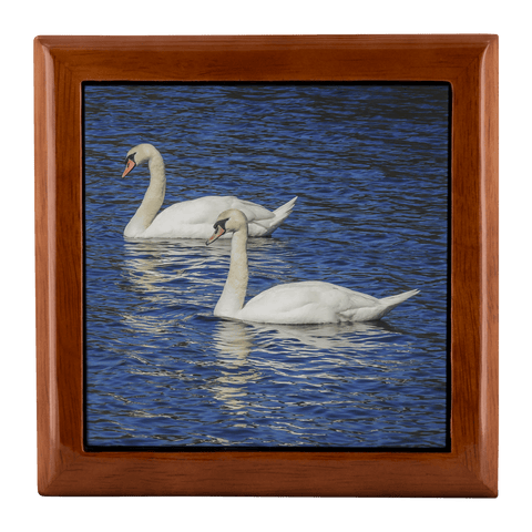 Jewelry Box -White Swans, County Clare, Ireland Jewelry Box teelaunch Golden Oak