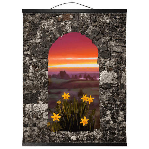 Image of Wall Hanging - Spring Daffodils and County Clare Sunrise Wall Hanging Moods of Ireland 16x20 inch Black