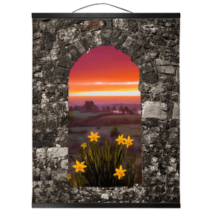 Wall Hanging - Spring Daffodils and County Clare Sunrise Wall Hanging Moods of Ireland 16x20 inch Black