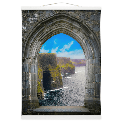 Image of Wall Hanging - Ireland's Cliffs of Moher through Rock of Cashel Medieval Arch wall hanging Moods of Ireland 12x16 inch White