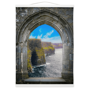 Wall Hanging - Ireland's Cliffs of Moher through Rock of Cashel Medieval Arch wall hanging Moods of Ireland 12x16 inch White
