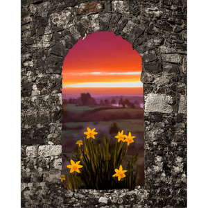 Print - Spring Daffodils and County Clare Sunrise Poster Print Moods of Ireland 8x10 inch