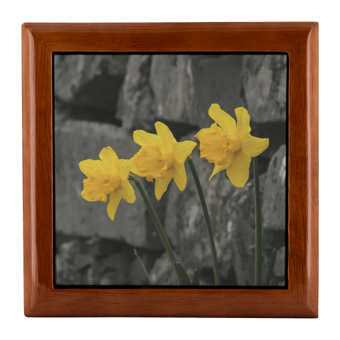 Jewelry Box - Irish Daffodils Jewelry Box teelaunch Golden Oak
