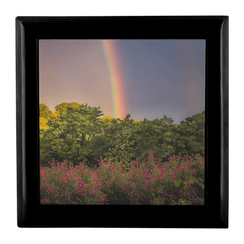 Image of Jewelry Box - Irish Rainbow and Wildflowers in County Clare Jewelry Box teelaunch Ebony Black