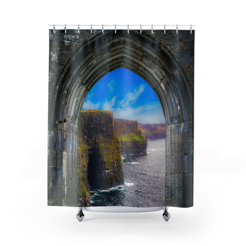 "Image of Shower Curtain - Ireland's Cliffs of Moher through Rock of Cashel Medieval Arch Home Decor Printify 71"" x 74"""