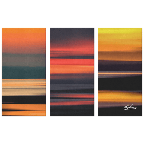 Triptych Canvas - Abstract Irish Sunrises Canvas Wall Art Set 3 teelaunch 36x24 inches (12x24 ea.)