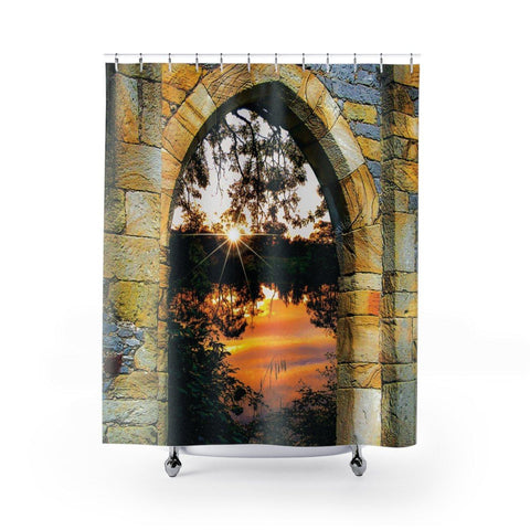 Image of Shower Curtain - Shannon Sunset through Castle Gate - James A. Truett - Moods of Ireland - Irish Art
