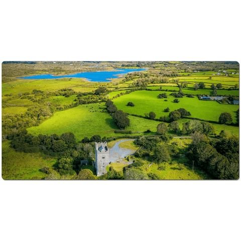 Image of Desk Mat - Medieval Dysert O'Dea Castle and Ballycullinan Lough, County Clare - James A. Truett - Moods of Ireland - Irish Art