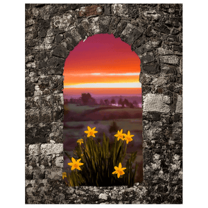 Print - Spring Daffodils and County Clare Sunrise Poster Print Moods of Ireland 11x14 inch