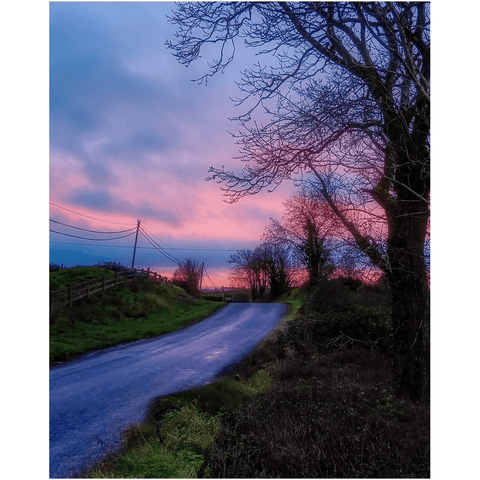 Print - Soothing Pink Sunrise over County Clare Country Road - James A. Truett - Moods of Ireland - Irish Art