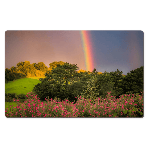 Image of Desk Mat - Irish Rainbow over Great Willowherb Flowers in County Clare - James A. Truett - Moods of Ireland - Irish Art