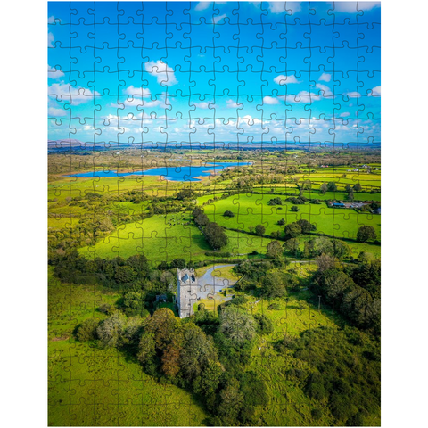 Image of Puzzle - Medieval Dysert O'Dea Castle and Ballycullinan Lough, County Clare - James A. Truett - Moods of Ireland - Irish Art
