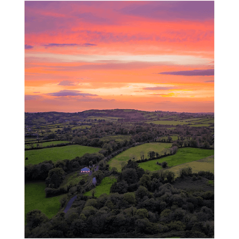 Image of Print - Sunrise over Kildysart Countryside, County Clare, Ireland Poster Print Moods of Ireland 8x10 inch