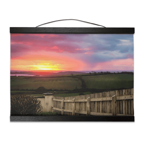 Image of Wall Hanging - Shannon Estuary Sunrise over Weathered Fence, County Clare - James A. Truett - Moods of Ireland - Irish Art