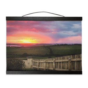 Wall Hanging - Shannon Estuary Sunrise over Weathered Fence, County Clare - James A. Truett - Moods of Ireland - Irish Art