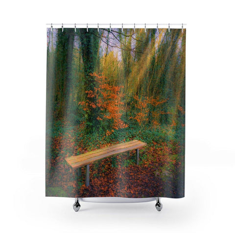 Image of Shower Curtain - Bench in Dromore Wood, County Clare - James A. Truett - Moods of Ireland - Irish Art