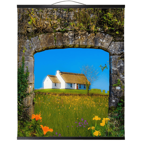 Image of Wall Hanging - Thatched Cottage on a Hill, County Care Wall Hanging Moods of Ireland 20x24 inch Black