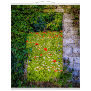 Irish Wall Hanging - Magical Irish Wildflower Meadow in County Clare Wall Hanging Moods of Ireland 20x24 inch White