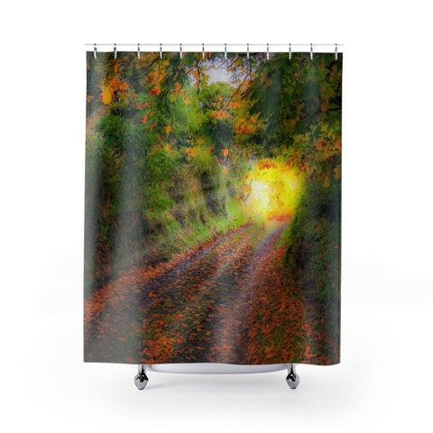 Image of Shower Curtain - Path to Cullinan Cottage, County Clare - James A. Truett - Moods of Ireland - Irish Art