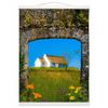 Wall Hanging - Thatched Cottage on a Hill, County Care Wall Hanging Moods of Ireland 12x16 inch White