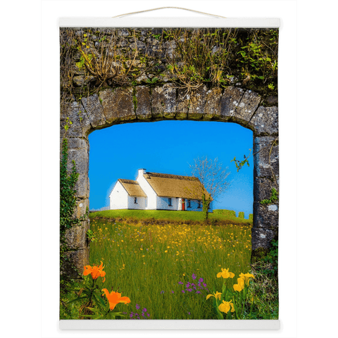 Image of Wall Hanging - Thatched Cottage on a Hill, County Care Wall Hanging Moods of Ireland 12x16 inch White