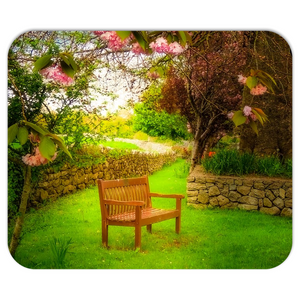 Mousepad - Bench under Cherry Blossoms, Quin, County Clare - James A. Truett - Moods of Ireland - Irish Art