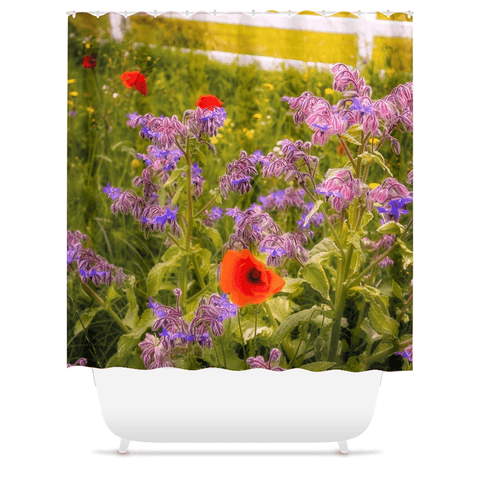 Image of Shower Curtain - Wildflower Meadow at Ballynacally, County Clare - James A. Truett - Moods of Ireland - Irish Art