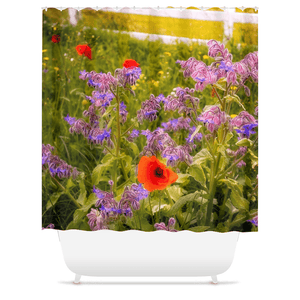 Shower Curtain - Wildflower Meadow at Ballynacally, County Clare - James A. Truett - Moods of Ireland - Irish Art