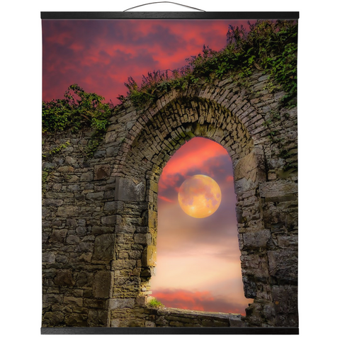 Wall Hanging - Wolf Moon at Sunrise over County Clare Wall Hanging Moods of Ireland 20x24 inch Black