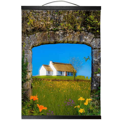Image of Wall Hanging - Thatched Cottage on a Hill, County Care Wall Hanging Moods of Ireland 12x16 inch Black