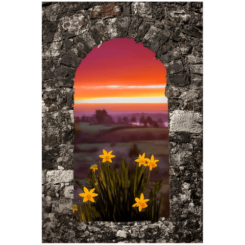 Print - Spring Daffodils and County Clare Sunrise Poster Print Moods of Ireland 24x36 inch