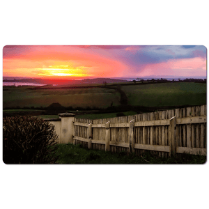 Desk Mat - Shannon Estuary Sunrise over Weathered Fence, County Clare - James A. Truett - Moods of Ireland - Irish Art