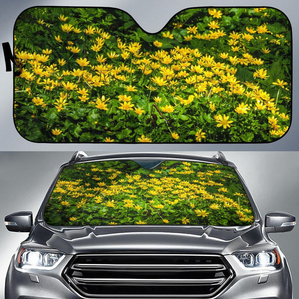 Auto Sun Shade - Irish Spring Meadow of Lesser Celandine in County Galway Auto Sun Shade Moods of Ireland
