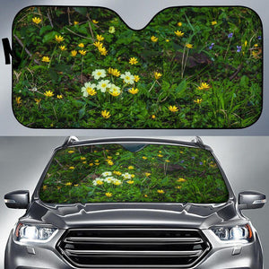 Auto Sun Shade - Spring Primroses and Lesser Celandine Flowers in County Galway Auto Sun Shade Moods of Ireland