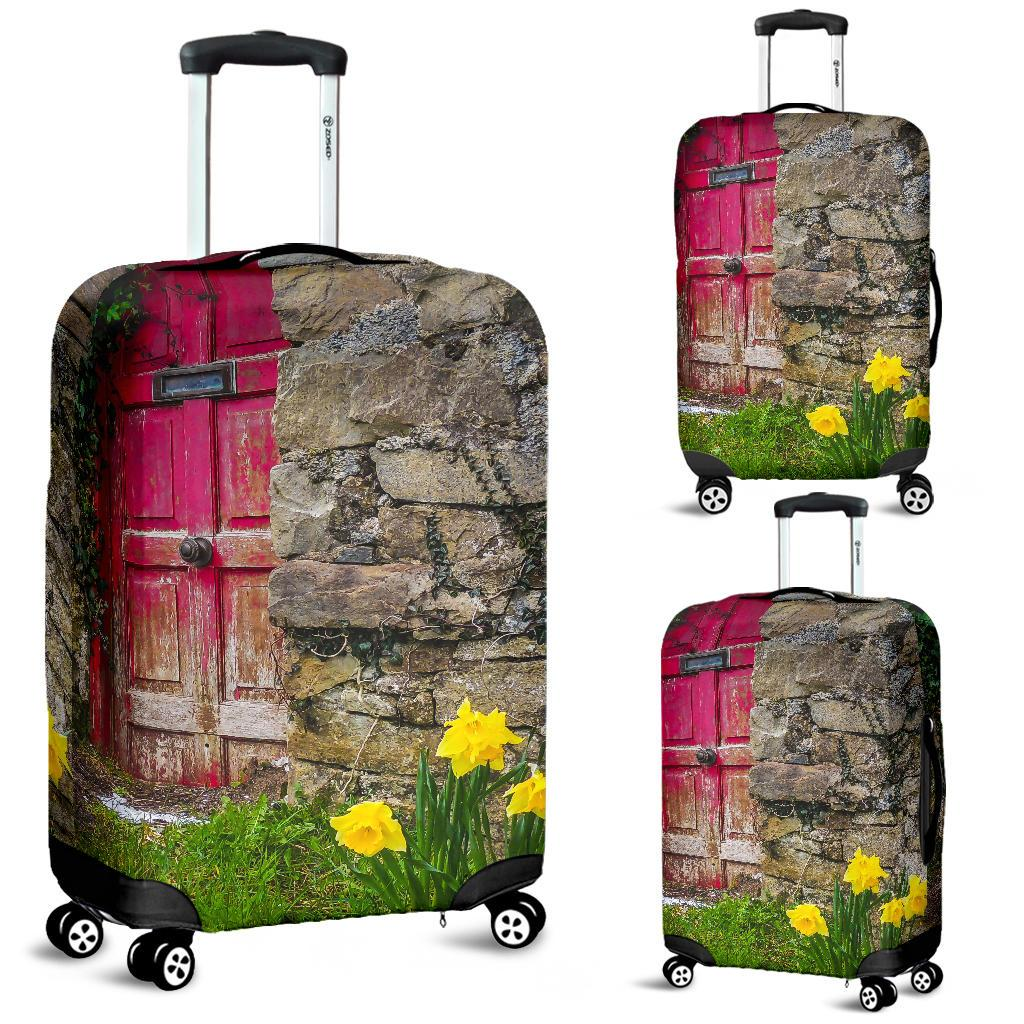 Luggage Cover - Daffodils Outside Irish Cottage in County Clare Luggage Cover Moods of Ireland