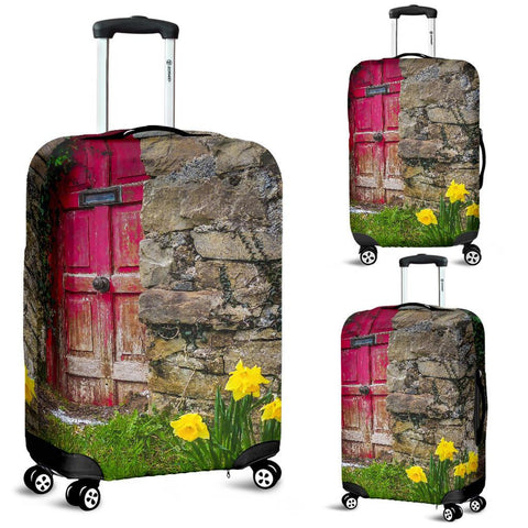Image of Luggage Cover - Daffodils Outside Irish Cottage in County Clare Luggage Cover Moods of Ireland