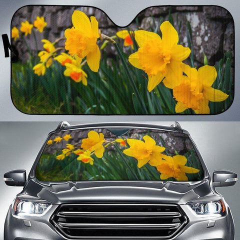 Image of Auto Sun Shade - Irish Spring Daffodils Against Stone Wall in County Clare Auto Sun Shade Moods of Ireland