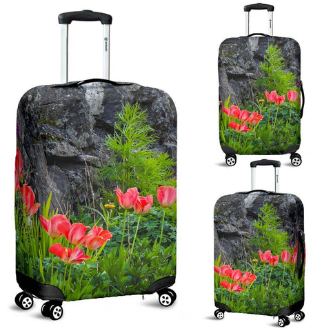 Image of Luggage Cover - County Galway Spring Tulips and Stone Wall Luggage Cover Moods of Ireland