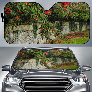 Auto Sun Shade - Irish Spring Cottoneaster and Stone Wall in County Clare Auto Sun Shade Moods of Ireland