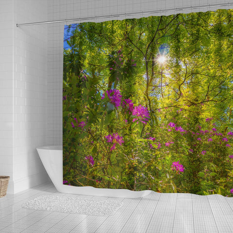 Shower Curtain - Sun Rays and Rhododendrons in Paradise, County Clare Shower Curtain Moods of Ireland