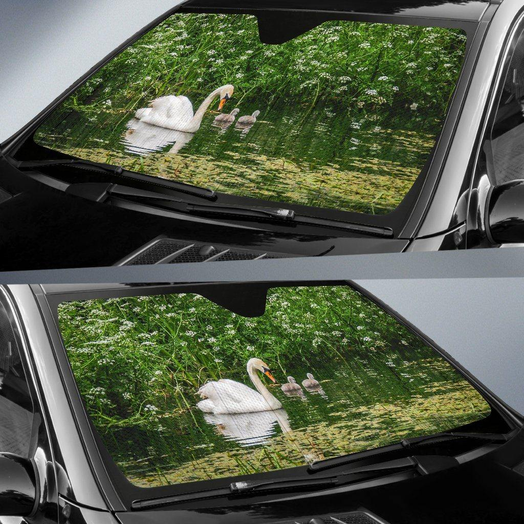 Auto Sun Shade - Swan and Cygnets at Doneraile Park, County Cork Auto Sun Shade Moods of Ireland