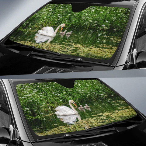 Image of Auto Sun Shade - Swan and Cygnets at Doneraile Park, County Cork Auto Sun Shade Moods of Ireland