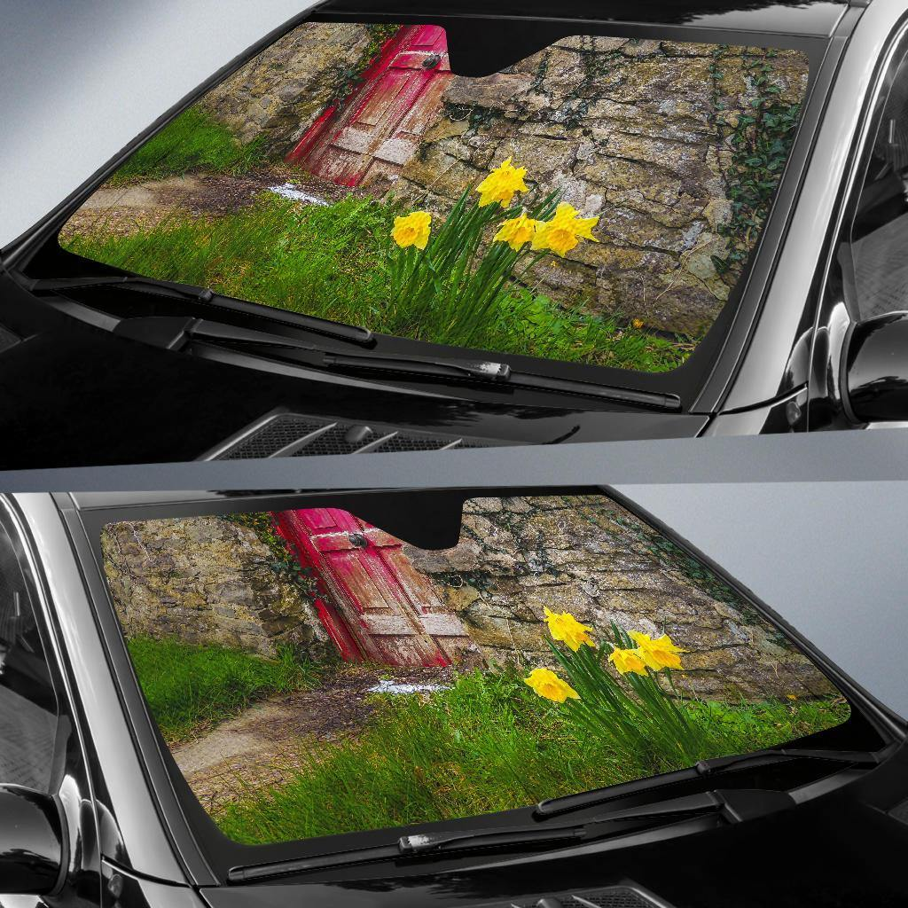 Auto Sun Shade - Spring Daffodils Outside County Clare Cottage Auto Sun Shade Moods of Ireland