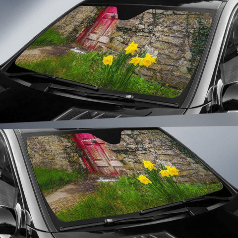 Image of Auto Sun Shade - Spring Daffodils Outside County Clare Cottage Auto Sun Shade Moods of Ireland